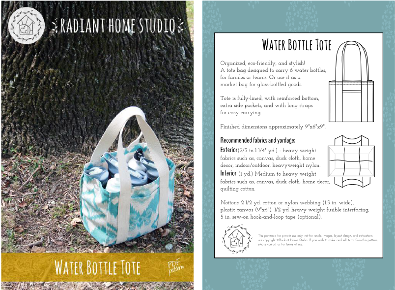 Water Bottle Tote Full Pattern Cover | Radiant Home Studio