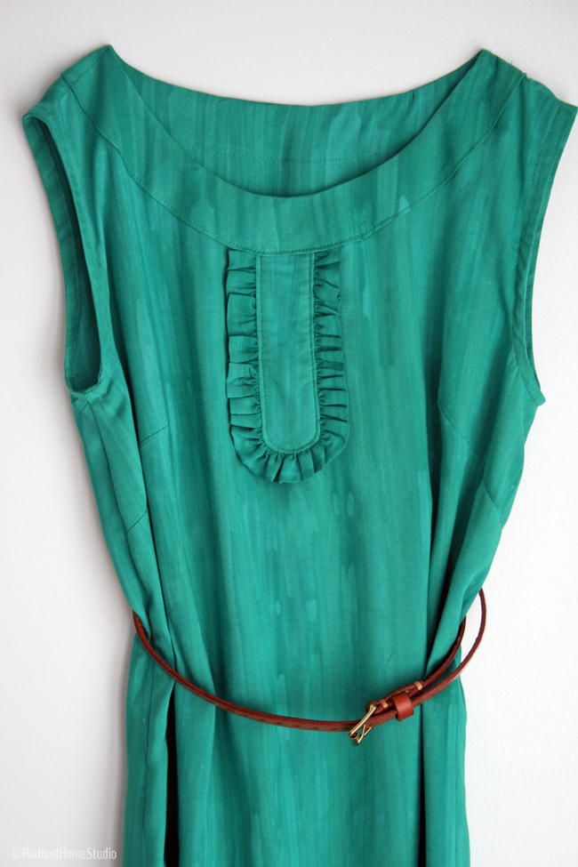 Emerald Green Market Dress | Ruffled Button Placket  | Radiant Home Studio