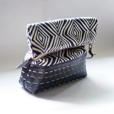 Embroidered Leather Zipper Pouch   Radiant Home Studio