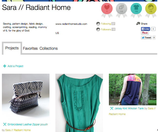 Share Your Sewing Projects at Kollabora | Radiant Home Studio