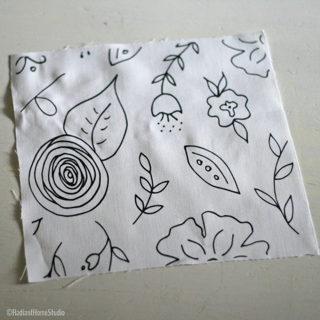 Black and White Floral Fabric for Embroidery | Radiant Home Studio