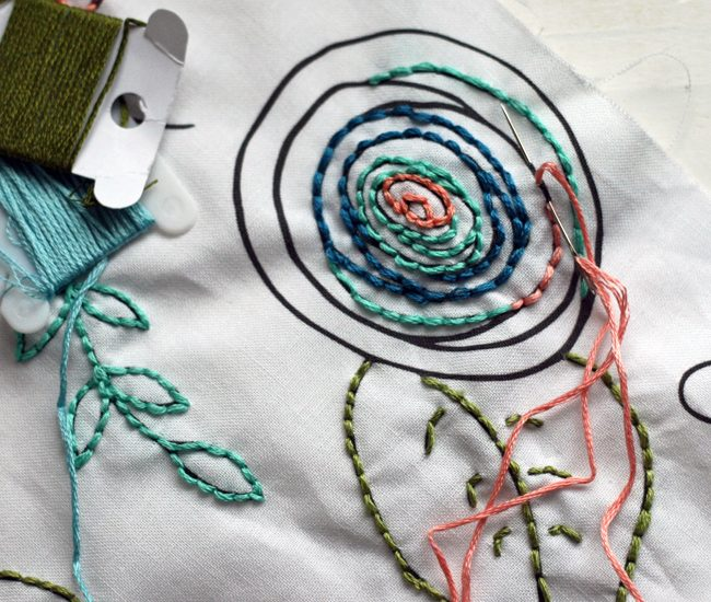 Embroider Over a Fabric Design   Radiant Home Studio