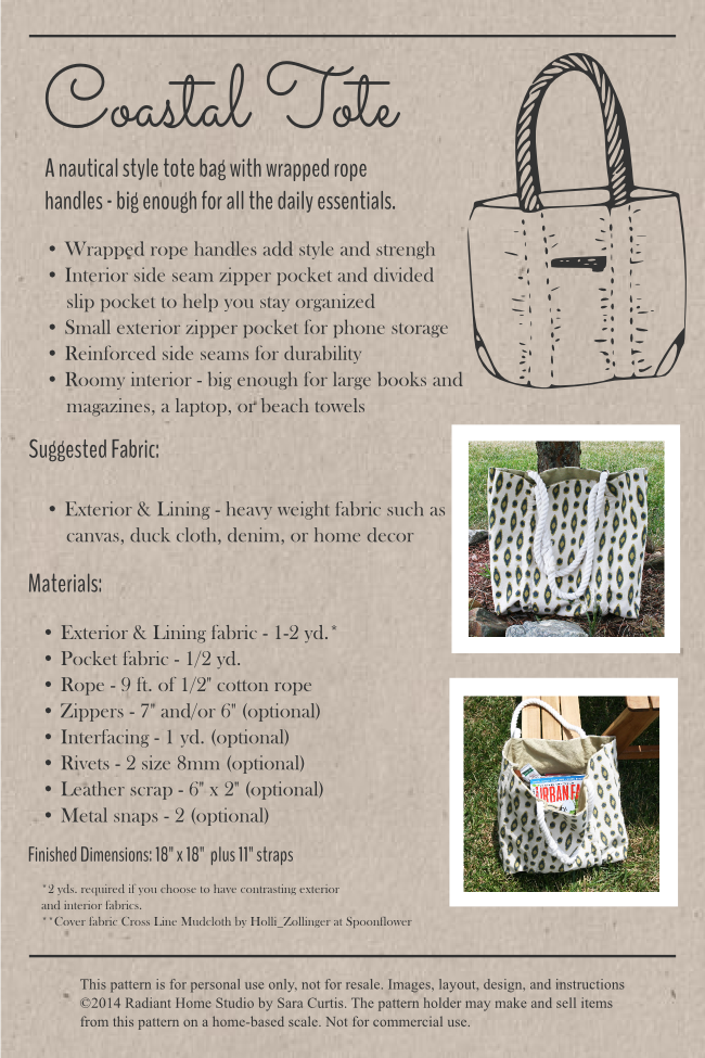 Coastal Tote Sewing Pattern Information | Radiant Home Studio