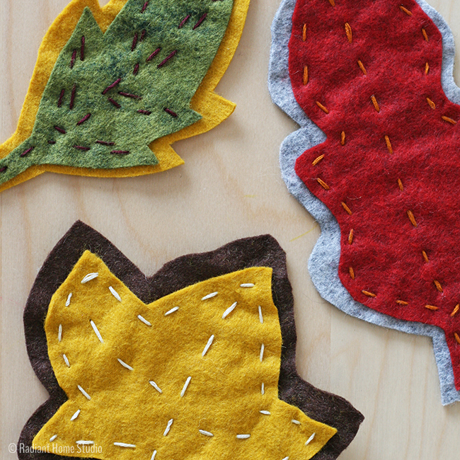embroidered felt leaves