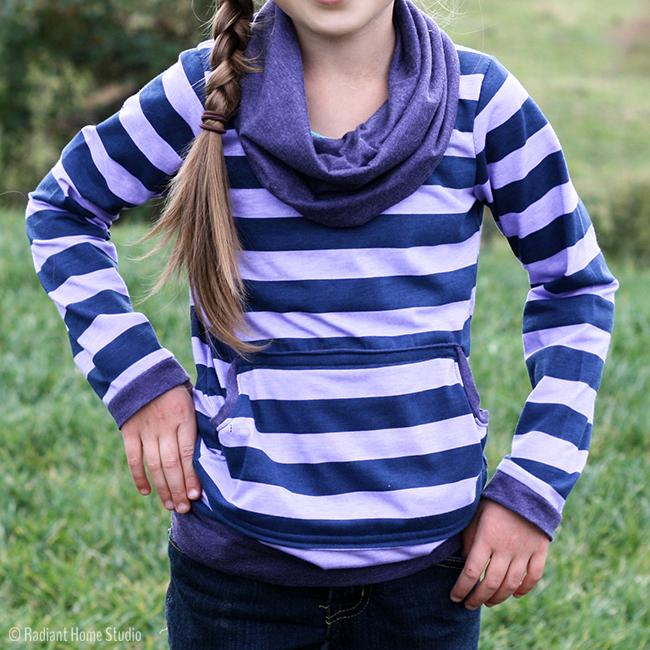 Striped Bimaa Sweater Shirt  Cowl Neck & Kangaroo Pocket   Radiant Home Studio