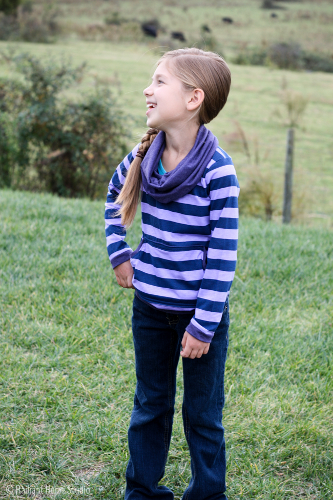 Striped Bimaa Sweater Shirt| Cowl Neck & Kangaroo Pocket | Radiant Home Studio