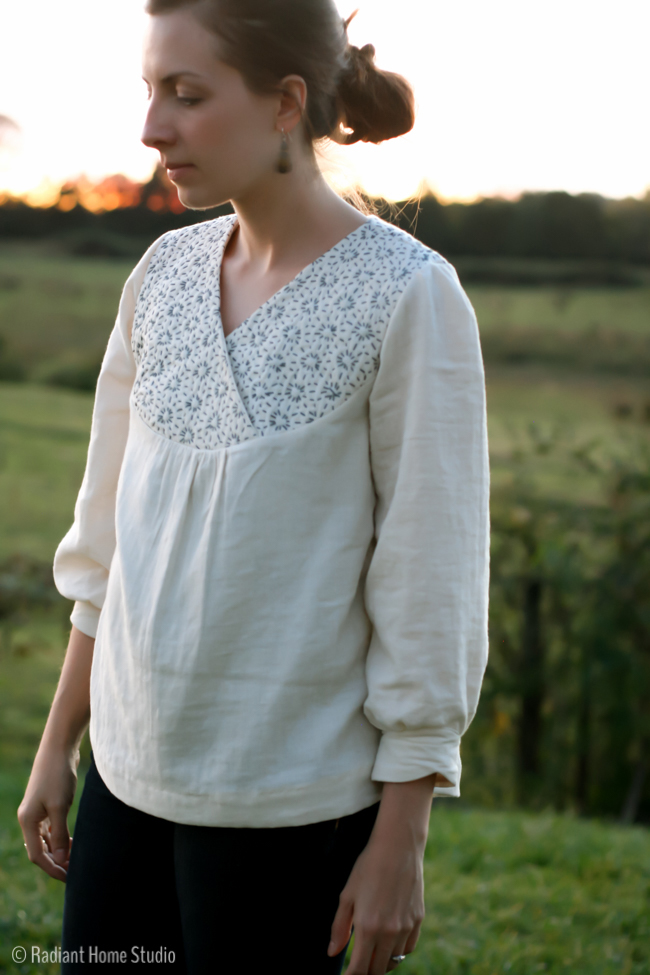 Sashiko Embroidered Zsayla Top | Sewing Pattern Kate & Rose | Radiant Home Studio