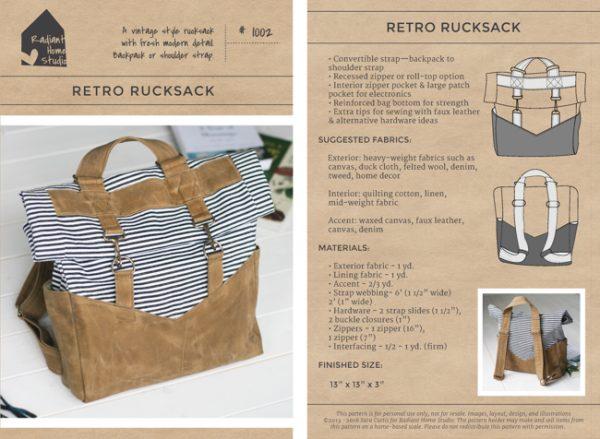 Retro Rucksack Sewing Pattern | Radiant Home Studio