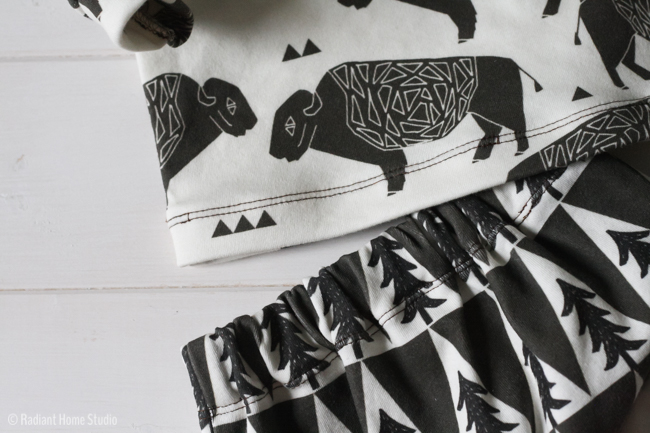 Buffalo Baby Clothes | Spoonflower Organic Knit |Radiant Home Studio