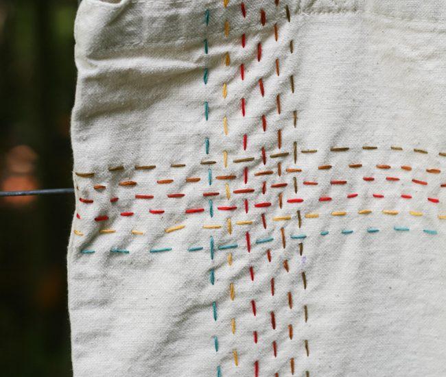 Autumn Running Stitch Tote Bag | Radiant Home Studio
