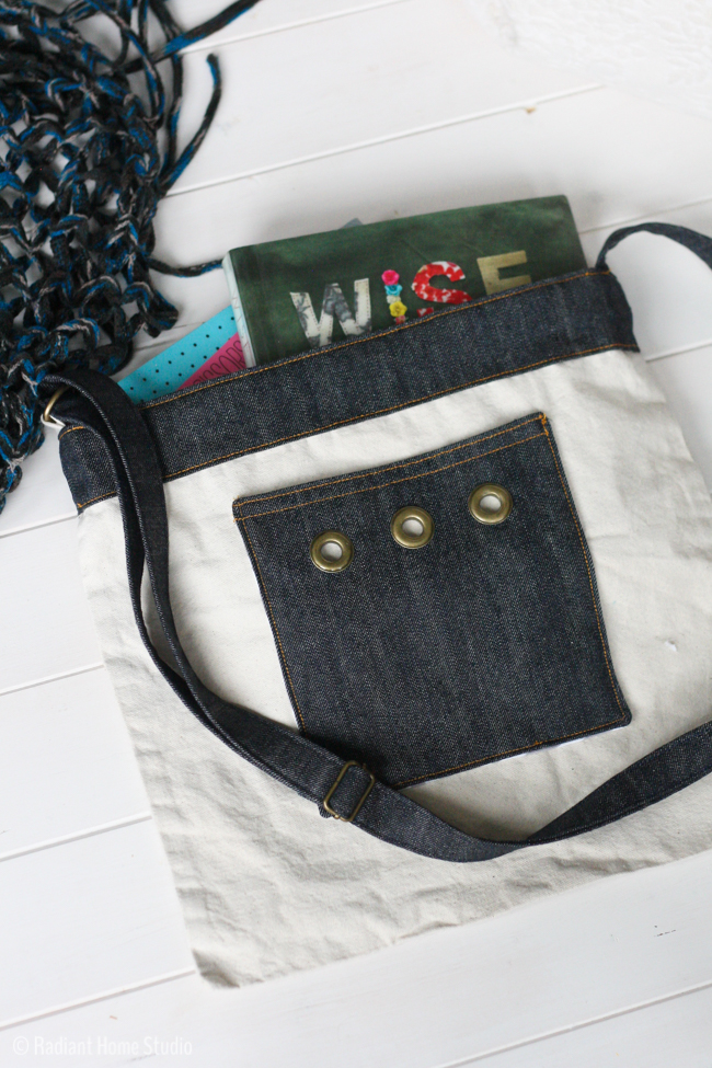 Denim Pocket with Grommets and Denim Shoulder Strap| Tote Bag Upgrade | Radiant Home Studio