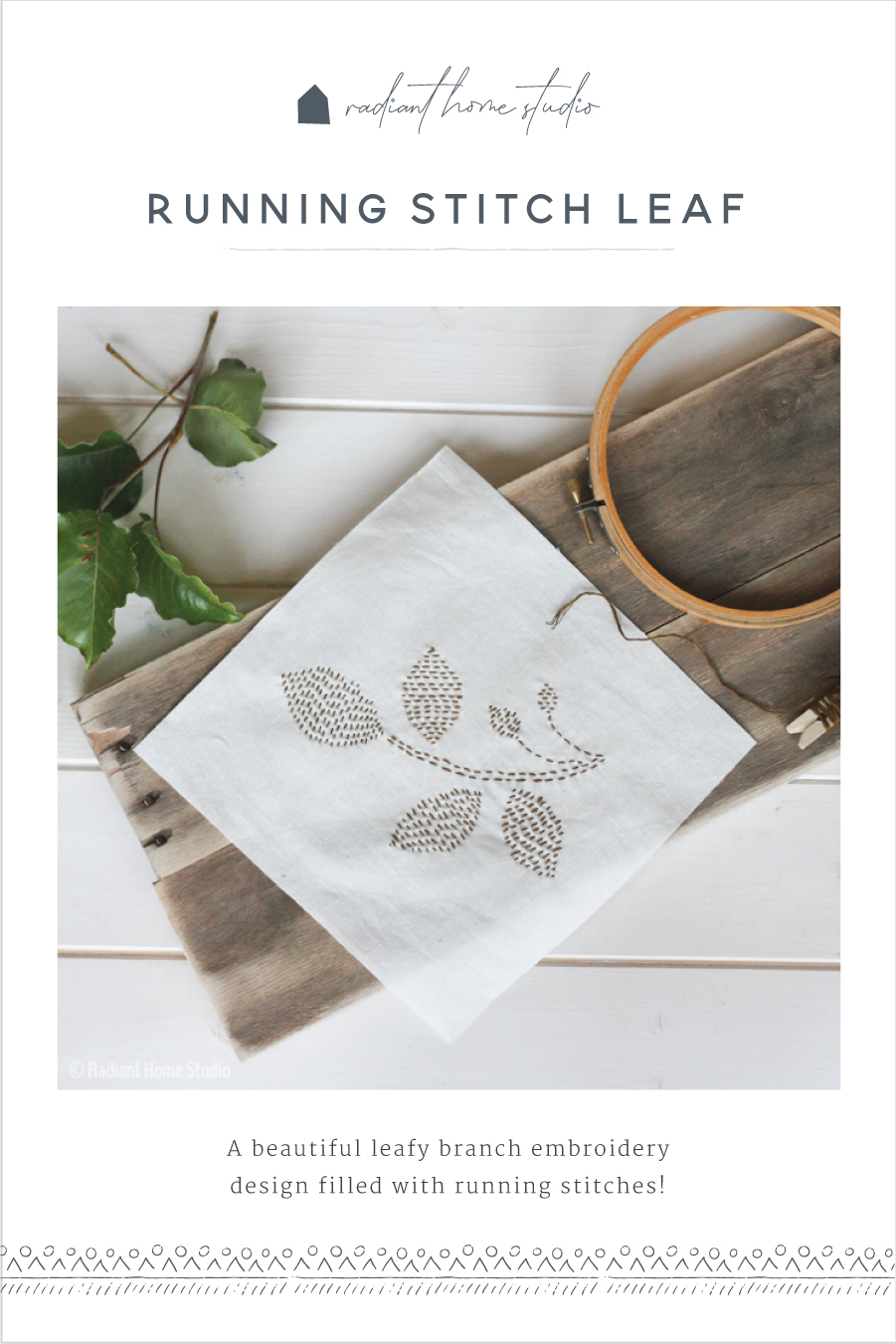 Running Stitch Leaf Embroidery | Radiant Home Studio