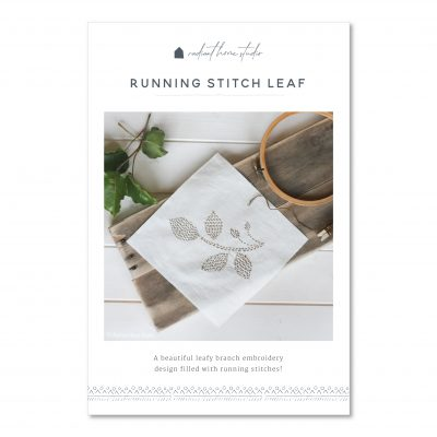 Running Stitch Leaf Embroidery Pattern | Radiant Home Studio