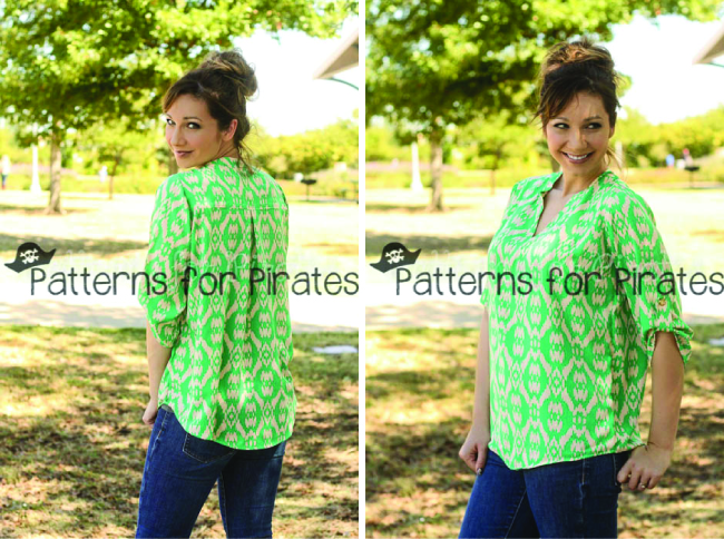 7 Flowing Blouses to Sew | Everday E;legance Blouse by Patterns for Pirates | Radiant Home Studio