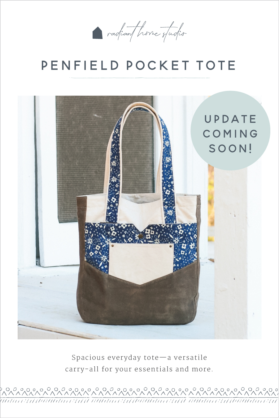 Penfield Pocket Tote Coming Soon | Radiant Home Studio