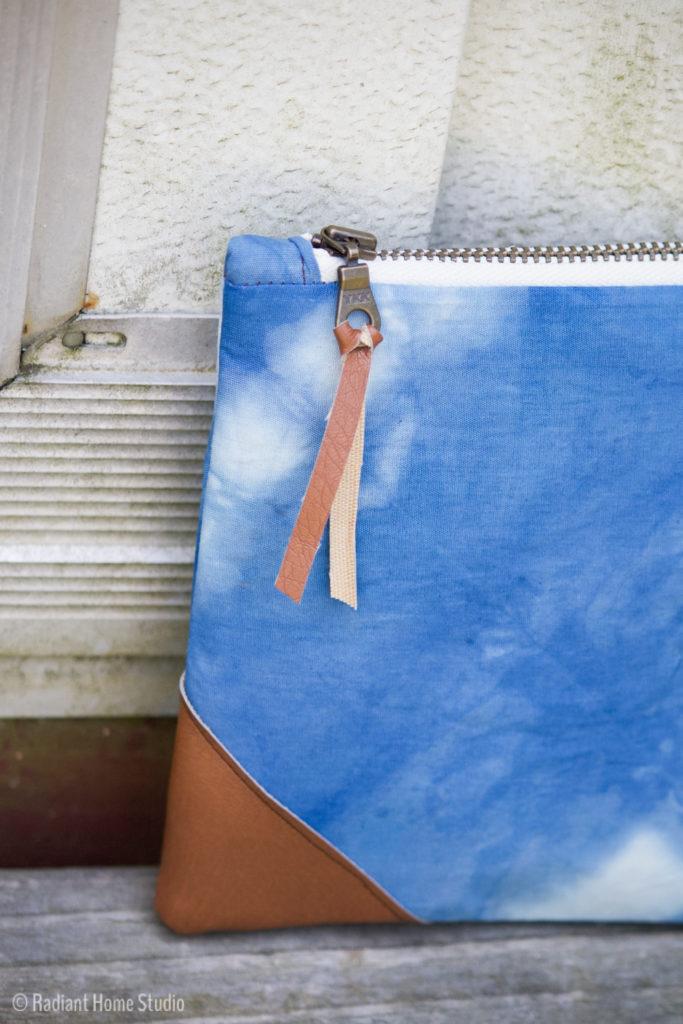 Shibori Indigo Dyed Zipper Pouch   Radiant Home Studio
