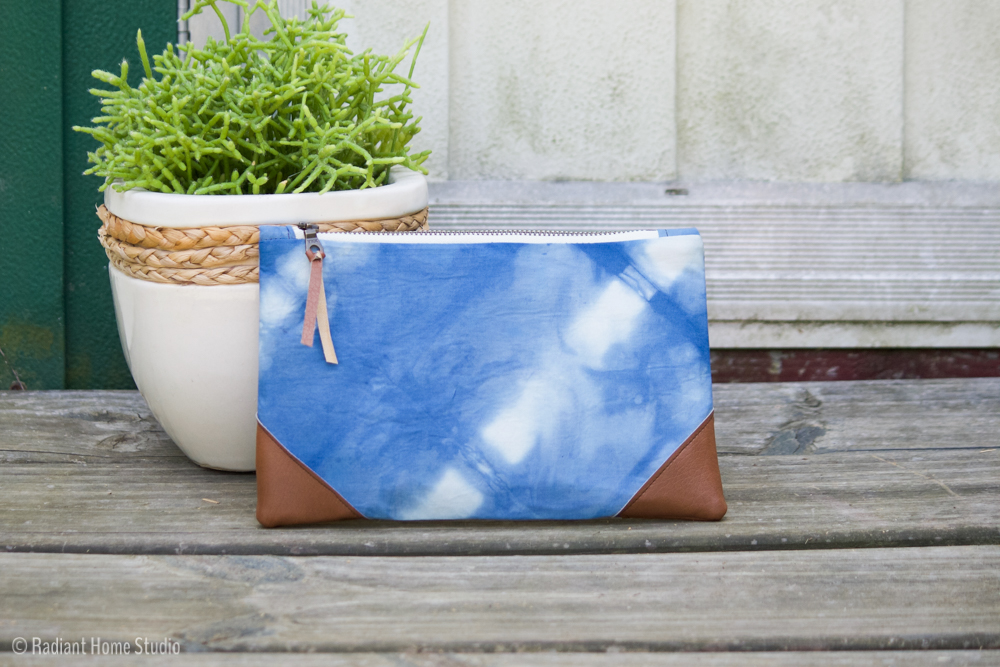 Shibori Indigo Dyed Zipper Pouch | Radiant Home Studio
