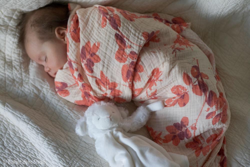 Botanical Baby Blanket with Spoonflower Swaddle Gauze | Radiant Home Studio