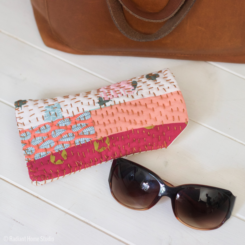 Sew a Sunglasses Case with Scraps & Kantha Stitching | DIY Handmade Sunglasses Pouch | Radiant Home Studio