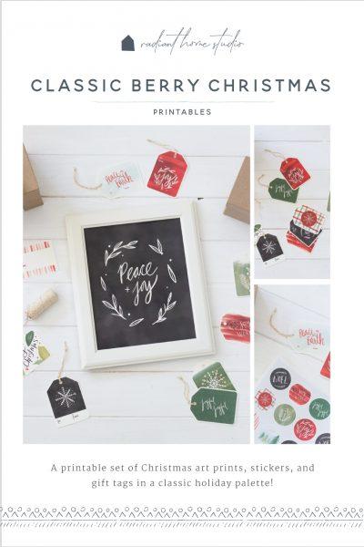 Classic Berry Christmas Printables | Radiant Home Studio