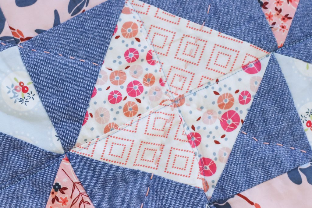 Charleston & Chambray Half Square Triangle Baby Quilt | Radiant Home Studio