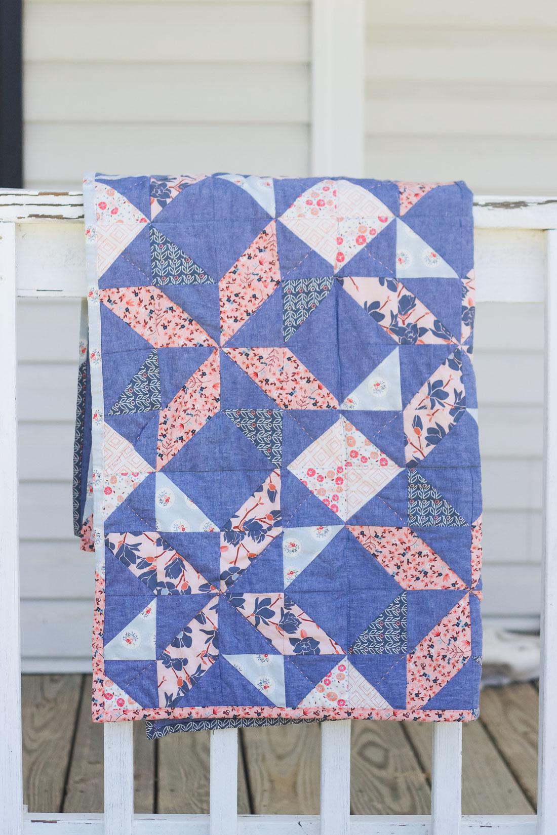 Charleston & Chambray Half Square Triangle Baby Quilt   Radiant Home Studio
