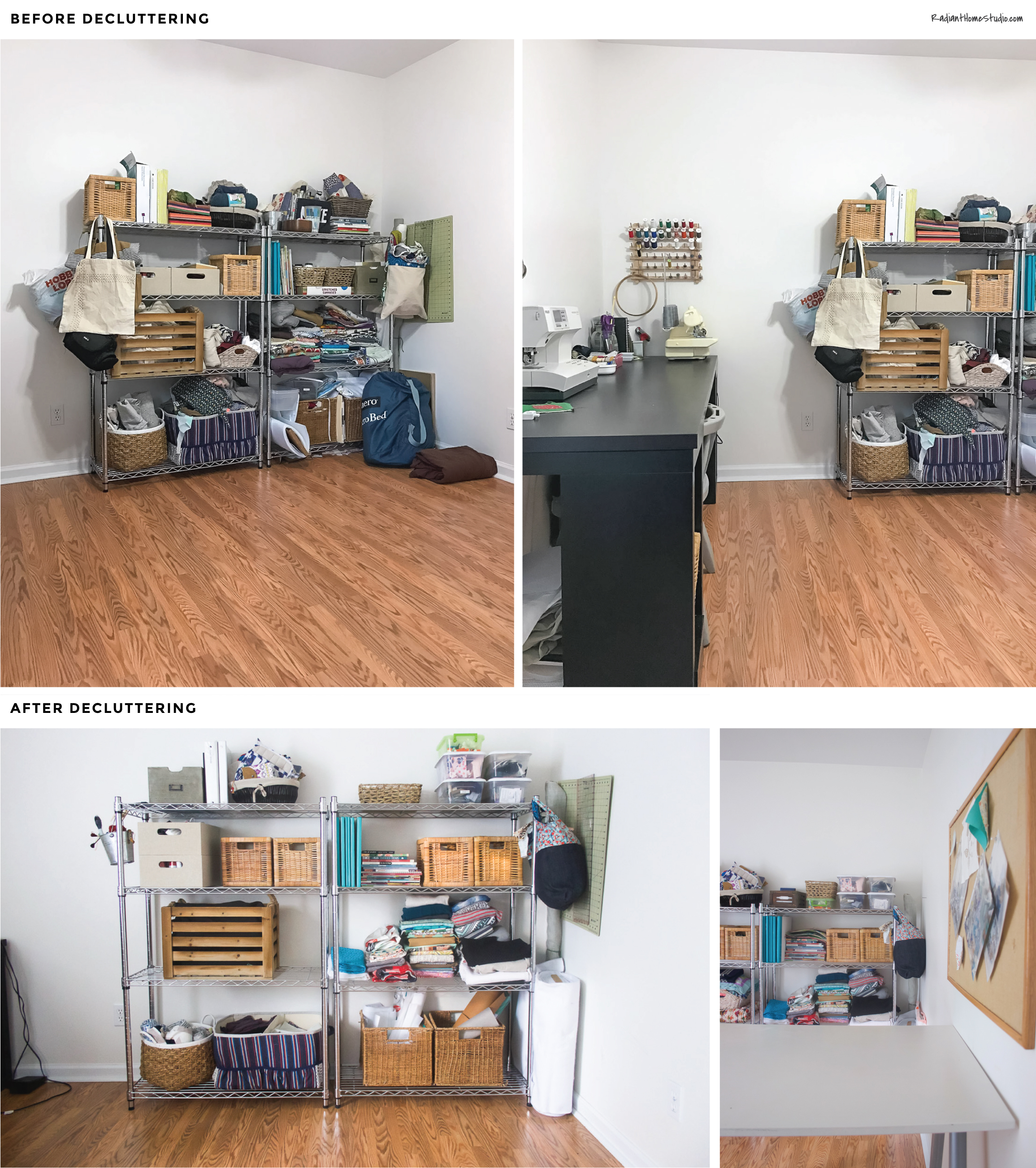 Declutter Your Sewing Room to Spark Creativity | Sewing Room Organization Before & After | Radiant Home Studio