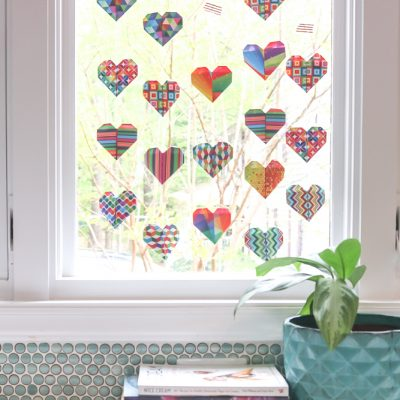 origami heart garland on window