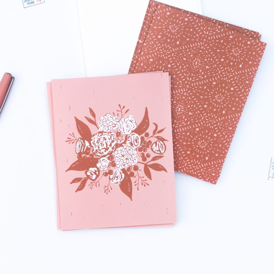 Terra Cotta Boho Bouquet Notecards   Radiant Home Studio