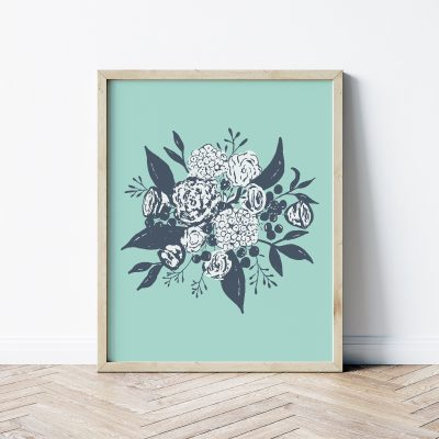 Modern Aqua Bouquet Art Print | Radiant Home Studio