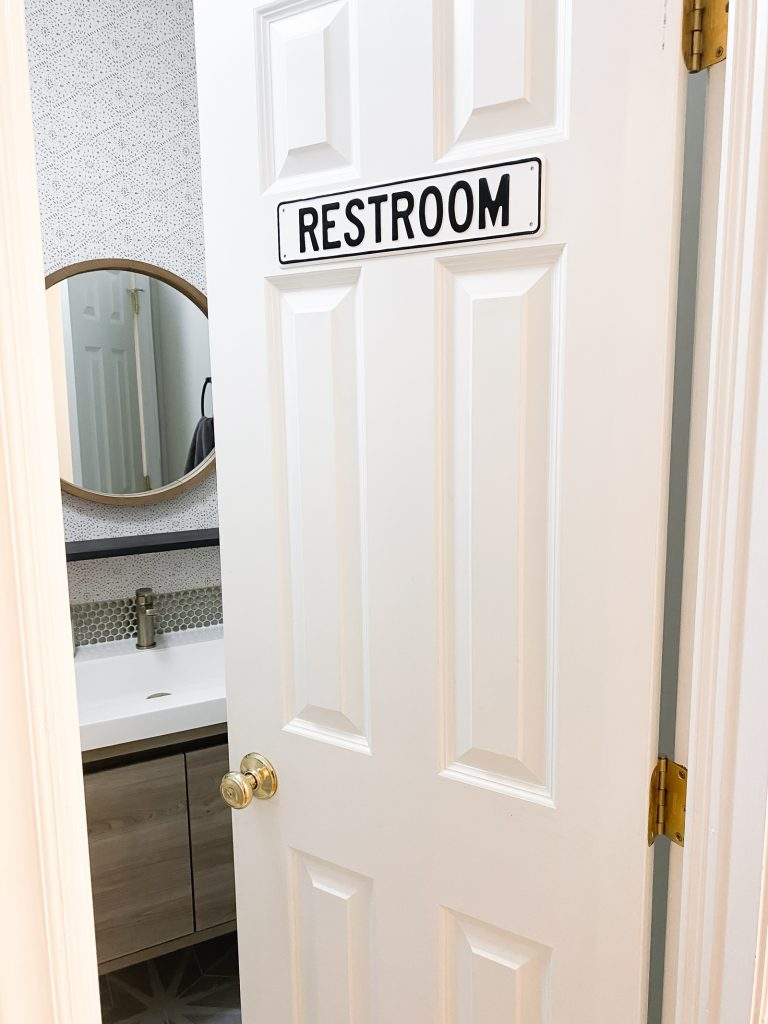 vintage restroom sign for powder room for guests