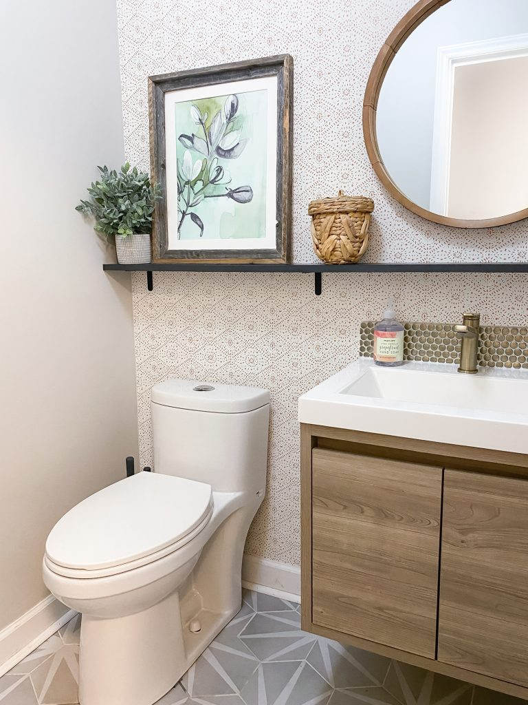 Wallpapered Boho Modern Powder Room Radiant Home Studio