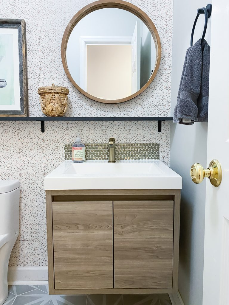 boho modern powder room vanity with gorgeous wallpaper