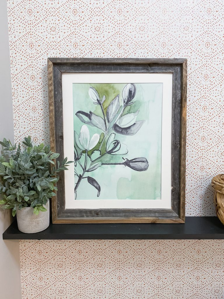 Makewells for Minted   Boho modern bathroom or powder room with gorgeous wallpaper