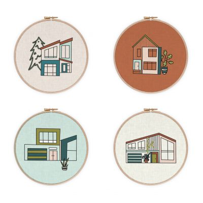 Modernist house embroidery patterns for hoops | Radiant Home Studio