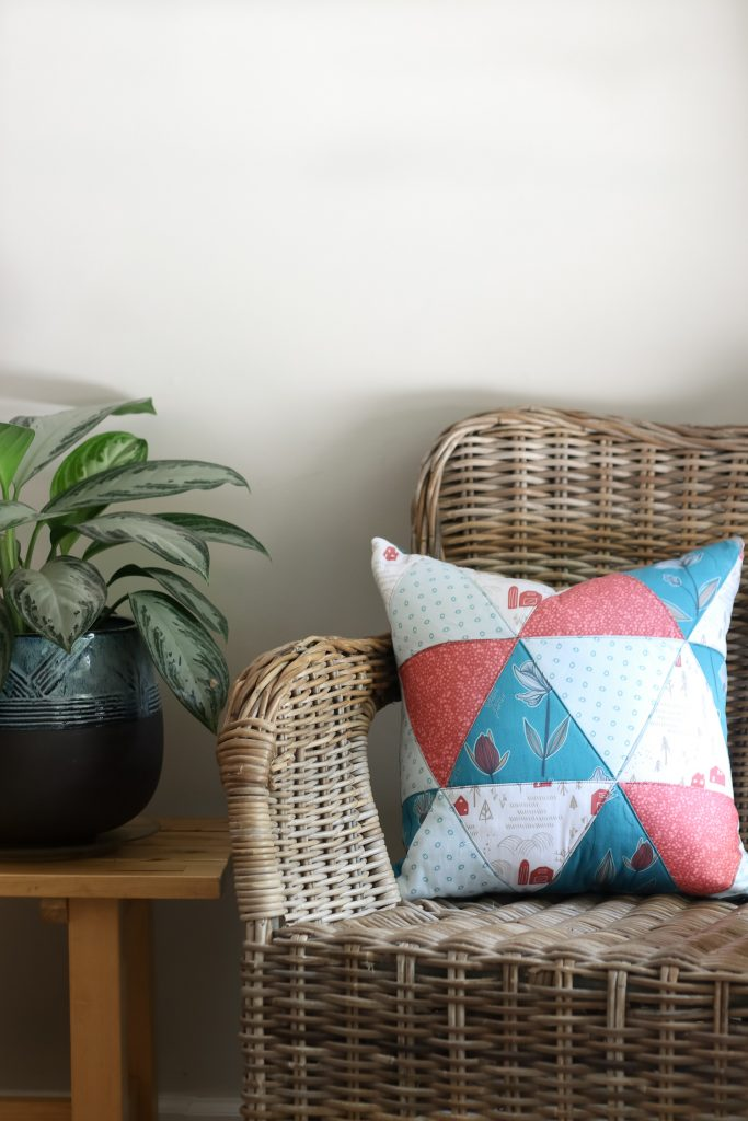 Triangle Quilted Pillow | Raised Fabric by Sara Curtis for Clothworks | Radiant Home Studio